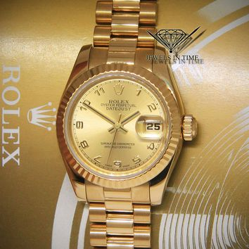 Rolex Datejust 26 President 18k Yellow Gold Ladies Watch Box/Papers 179178
