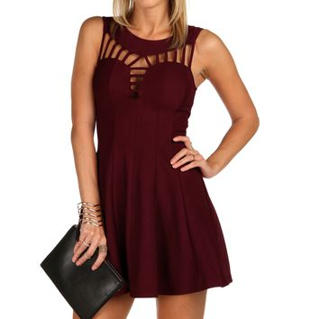 Sale-burgundy Flare Out Skater Dress