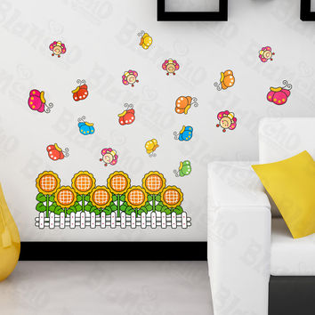Sunflowers & Bees - Large Wall Decals Stickers Appliques Home Decor