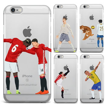 Ultra Thin Football For iPhone 4 4S 5 5S SE 6 6S 7 7 PLUS Phone Cover Cases Coque Football Superstar Winner Messi Ronaldo Rooney