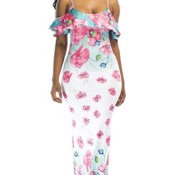 Floral Print Fit and Flare Long Maxi Dress