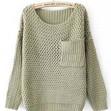Round Neck Grey green knitted long sleeve pullover   style zz10080504 in