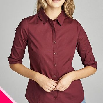 Ladies fashion plus size 3/4 sleeve stretch button down collar shirts