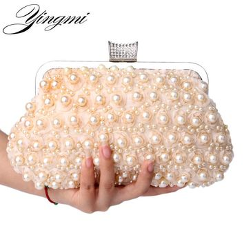 YINGMI Evening Bags Women Clutch Bags Evening Clutch Bags Wedding Bridal Handbag Pearl Beaded Lace Rose Fashion Rhinestone Bags
