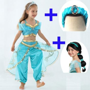 Kids Aladdin and the magic lamp Princess Jasmine Cosplay Costume Female Dance Dress Halloween Sky blue Girl Beautiful Ball Gowns