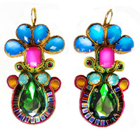 HAWAIIAN PUNCH soutache earrings in emerald, blue, pink, pacific opal nad yellow