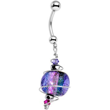 14kt Gold Nebula Dichroic Belly Ring Created with Swarovski Crystals