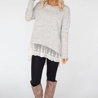 Long Sleeve High Low Top With Lace Bottom - Heather Taupe