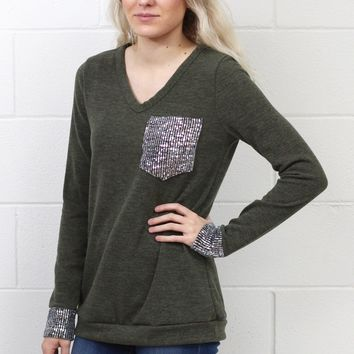 Time to Shine Sequin Pocket + Cuff Long Sleeve Knit {Olive}