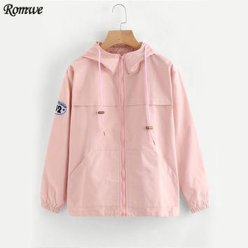Pink Zip Up Hooded Jacket Women Cute Patch Long Sleeve Windbreaker Autumn Coat Fashion Basic Pockets Casual Jacket