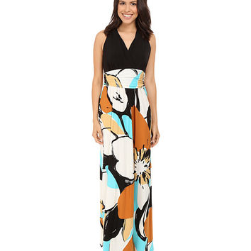 London Times Graphic Daisy Ruched Inset Waist Dress
