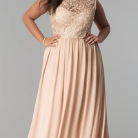 Chiffon Lace-Bodice Plus-Size Prom Dress in Taupe