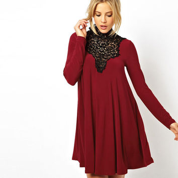Red Wine  Crochet Lace Long Sleeve Swing Dress