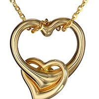 """14k Yellow Gold Double Heart Pendant Necklace, 16"""""""