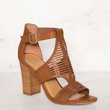 Tracy Block Heel Sandals - Tan
