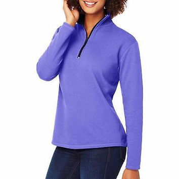 Hanes Women's Lightweight Quarter Zip Mockneck Fleece Pullover, Purple, Large