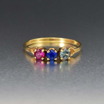 Three Stone Ruby, Sapphire and Topaz Gold Art Deco Ring