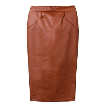 Sexy Women Faux Leather Skirt Solid Color PU Leather Bodycon Skirts Elegant Ladies Midi Pencil Skirts OL Casual Slim Clubwear