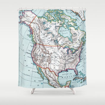 Atlas Map Shower Curtain - North America colorful - Home Decor - Bathroom - learning and  travel,  places, United States, Canada maps