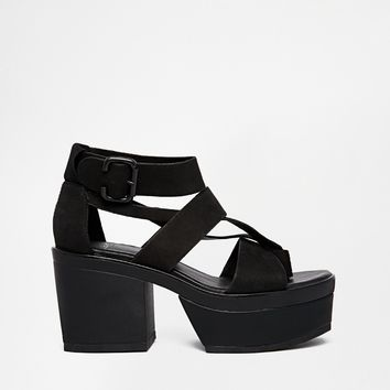 Vagabond Avery Black Leather Strap Heeled Sandals