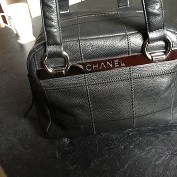 Chanel Hand / Shoulder Bag Black Leather With Authenticity Card.