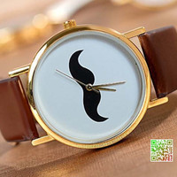 Retro is also a fashion-Fashion cartoon beard watches, unisex leather watch
