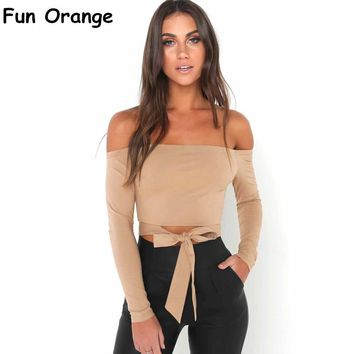 Fun Orange Off Shoulder Tie Up Blouse Long Sleeve Shirts Tops Women Bow Casual Autumn 2017 Streetwear Shirt Ladies Tops