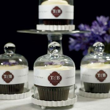 Small Glass Bell Jar with White Base Wedding Favor (Pack of 4)