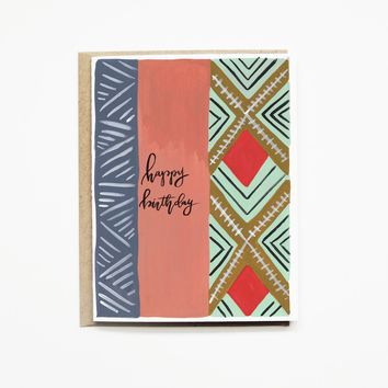 Pen + Pillar - Coral Stripe Happy Birthday Card