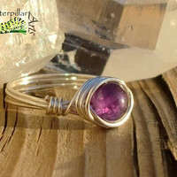 Amethyst Ring Wire Wrapped - Custom Made to Order - Silver Plated Copper