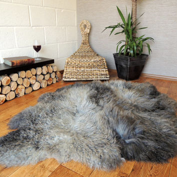 Genuine Very Rare Scandinavian Double Side By Side Sheepskin Rug - Incredibly Soft Silky Curly Wool - Exclusive  ECO product of EU  (ETD/8)