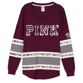 Bling V-neck Varsity Tee - PINK - from VS PINK