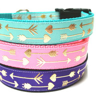 1 inch Adjustable Dog Collar- Gold Arrows on Teal, Pink, Purple