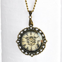 Clock Necklace, Clock Image Pendant, Vintage Look Pendant, Victorian Necklace, Filigree Pendant, Glass Pendant