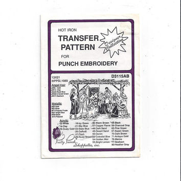 1989 Nativity Hot Iron Transfer for Punch Embroidery, Pretty Punch Shoppettes, Mary, Joseph, Baby Jesus, Shepherd, Wise Men, UNUSED, Crafts