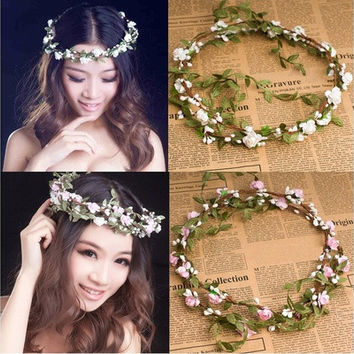 Party Wedding Bridesmaid Floral Flower Festival Forehead Headband Hair Garland [7982887175]