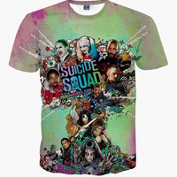 2016 New Suicide Squad Women Mens Harley Quinn Joker T Shirts 3D T shirt Man Superhero Summer Movie T-shirt Streetwear