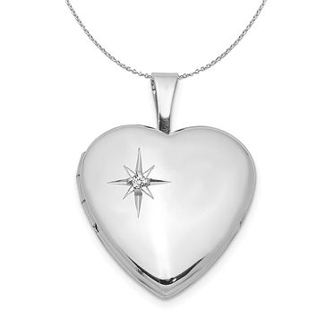16mm Diamond Star Design Heart Shaped Silver Locket Necklace