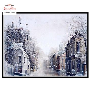 Needlework,DIY DMC 14CT unprinted Cross stitch Embroidery,The Snow City home arts Counted White canvas Cross-Stitching handmade