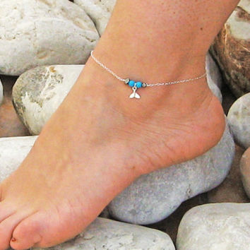 Fishtail Anklet, Turquoise Ankle Bracelet, Sterling Silver, Hematite , Beach Foot Jewelry , Bridesmaid Jewelry, Bar Anklet, Gift Under 25