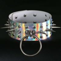 Holographic Spike Choker punk laser Leather Collar belt Necklace Statement Oversized chocker club party Harajuku Jewelry