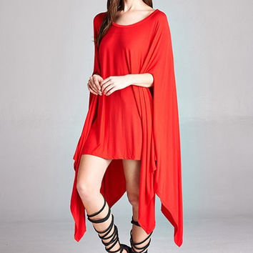 Up Down Poncho Tunic (Red)