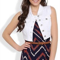 Cropped Denim Vest with Fray Abrasions