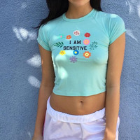 "Summer ""I AM SENSITIVE"" Crop Tops [10892856143]"