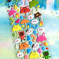 rainy day sticker Cartoon umbrella Animal umbrella sticker rain drop white cloud puffy sticker happy weather sticker deco label sticker gift
