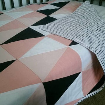 Coral baby girl triangle quilt - coral peach black white ombre modern girl nursery decor