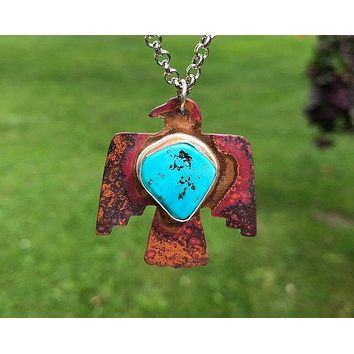 Thunderbird Copper Turquoise Silver Pendant Necklace