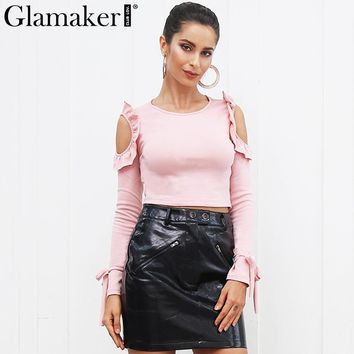 Glamaker Cold shoulder ruffle crop top tees Women elegant bow tie pink blouse shirt Autumn casual streetwear black blousas cami
