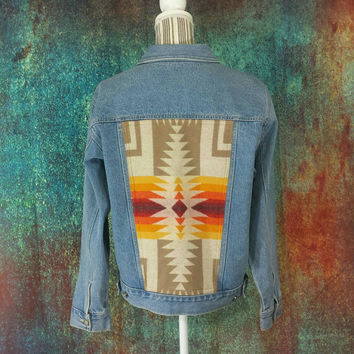 Vintage Denim Jacket Pendleton Back Wool 90s Tribal Aztec Southwest Gypsy Boho Jean Coat Geometric Native Navajo Bill Blass Bohemian Medium
