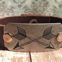 Boho Leather Cuff, Arrow Bracelet, Tribal Cuff, Bohemian Bracelet, Hippie Bracelet, Rustic Leather Cuff, Stamped Cuff,Gypsy Cuff,Boho Hippie